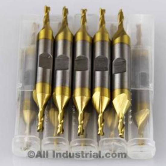 10pcs Tin Coated End Mill Set 2 Flutes Cutting tools HSS